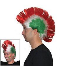 Parrucca Italia tricolore con cresta tifo calcio