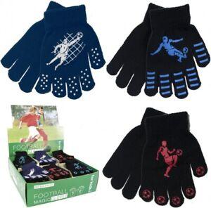 Boys Winter Warm Thermal Stretchy Magic Football Design Gripper Gloves Xmas Gift