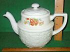 Vtg Drip-O-Lator Basketweave Floral China Coffee&Tea Pot Enterprise Aluminum Co.