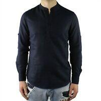Camicia Uomo Collo Coreana Lino Blu Serafino Slim Fit Manica Lunga Estiva