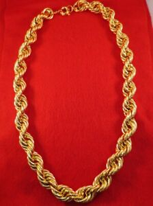"""24"""",26"""",28"""", 30"""" HIP HOP 20MM 14KT GOLD  EP RUN  DMC BLING ROPE CHAIN NECKLACE"""