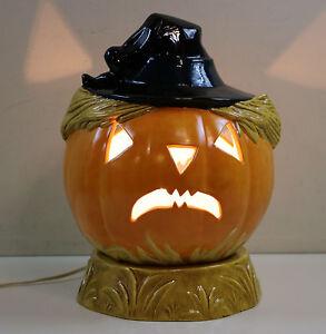 "Ceramic Lighted Jack O Lantern Pumpkin Halloween 14"" 2 Piece Lighted"