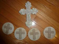 Cross Wall Mount & Drinking Coasters Set of 4