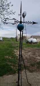Antique Farm Barn Country Weathervane American Folk Art. Deep Blue Ball!