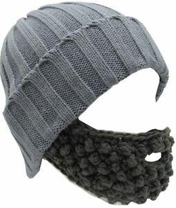 Unisex Funny Winter Hat W/ Fake Beard Detachable Beard Beanie Hand-Knit Hat