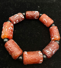 Old China red All natural old agate Hand-carved Moire good luck Bracelets