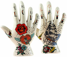 More details for set of 2 palmistry tattoo hand decorative ornaments - love hate design