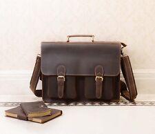 New Mens Geniune Leather Satchel School Shoulder Bag messenger