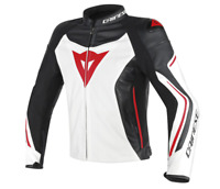 New Dainese Assen Perf. Leather Jacket Men's EU 56 White/Black/Red #1533761G2756