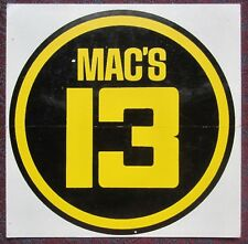 VINTAGE Original MAC'S 13 Sticker Decal 1970's