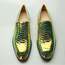New Mens Snakeskin Loafers Shiny Leather Casual Slip On Outdoor Nightclub Shoes