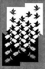 M.C. Escher Sky and Water canvas print giclee 8X12&12X17 art reproduction poster