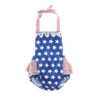 NEW Baby Girls Patriotic 4th of July Stars Stripes Romper Jumpsuit Outfit