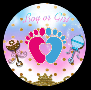 Custom Round Circle gender reveal backdrop baby shower Banner - personalizado