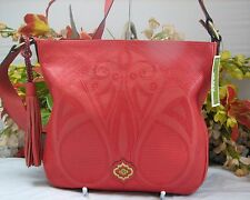 Gorgeous ORYANY Large Coral Pebbled Leather X-body Bag With Embroidered Front