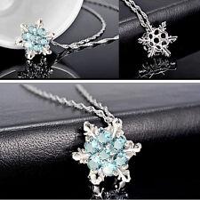 Schneeflocke Anhänger mit künstlichem Aquamarin Halskette aus Silber Platierung