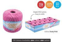 10 x Super Soft Crochet Cotton Ball 50g Wool Yarn Dusty Pink NEW (WIN-074)