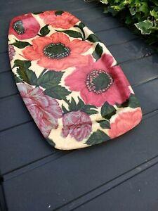 Vintage Fibreglass Floral Rose Rectanglular Tea Serving Tray 50-70s Retro Kitsch