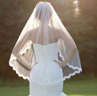 Wedding Veil White Ivory Soft Tulle Ladies Bridal Elbow Veils Lace Applique Edge