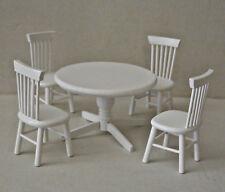 Tisch Set 2142 , Tisch mit 4 Stühle  weiß  , 1:12 - Puppenmöbel , Puppenstuben