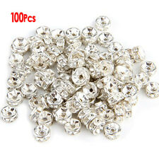 100X Metal Beads Intermediate Ring Spacer Beads Pearl 6 mm Silver HY