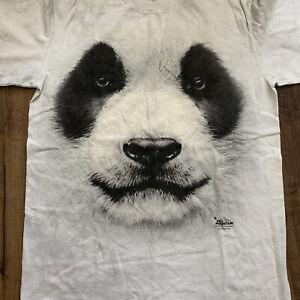The Mountain Big Face Panda T Shirt Men's Small Short Sleeve Gray Tie Dye Cotton