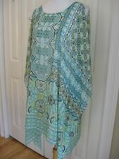CHICO'S BEACH COVER-UP, SWIMSUIT COVER-UP SHEER COLD SHOULDER ONE SIZE EUC