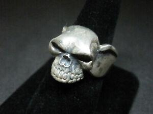 VAMPIRE Skull Men's Biker ring size 11 signed D, DICE? Japanese?