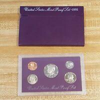 1991 United States Mint Proof Set Coin Purple Collectors Numismatic