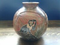 South American Hand Carved Clay Bud Vase Monkey Butterfly Hummingbird