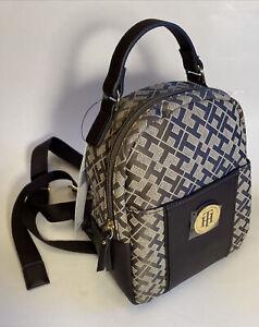 Tommy Hilfiger Roxy II-Mini Backpack-Geometric Jacquard Brown Monogram MSRP $88