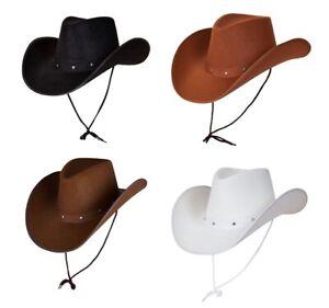 Texan Cowboy Hat Wild West Fancy Dress White, Black, Dark Brown, Light Brown