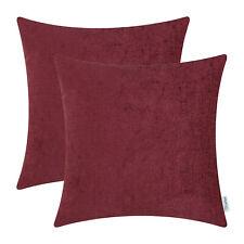 2pcs Burgundy Pom Poms Cushion Covers Pillows Shells Case Chenille Decor 45x45cm