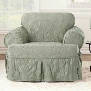 NEW Matelasse Damask One Piece box cushion T- Chair Slipcover sage