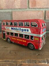 Vintage Mobil/shell Double Decker Tin Toy Bus
