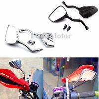 CHROME BLACK MOTORCYCLE REAR VIEW SIDE MIRRORS FOR YAMAHA HONDA SUZUKI KAWASKI