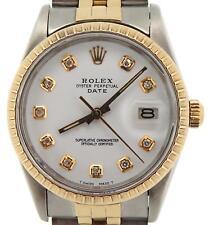 Rolex Date 15053 Mens Stainless Steel 14K Gold Watch White Diamond Dial Jubilee