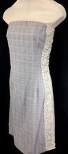 Poleci Womens Strapless Dress 8 Gray Glen Plaid Lace Stripe Stretch Bodycon