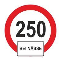 wetterfester Aufkleber Warnschild 250 bei NÄSSE lustig witzig motorrad km/h bike