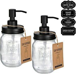 Mason Jar Liquid Soap Dispenser -Rustproof Stainless Steel Replacement Farmhouse