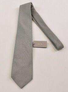 Tom Ford NWT Neck Tie In Sliver & White Fine Stripe Silk Cotton Blend
