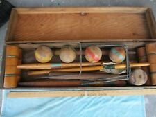 Antique Croquet Set In Wooden Case