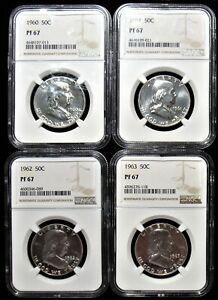 1960, 1961, 1962, 1963 50C PR67 NGC. 4 Coins Total.