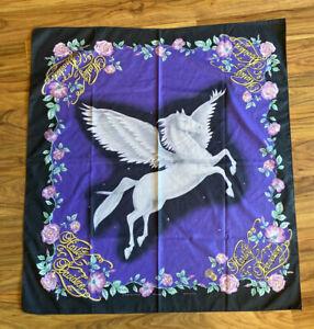 "Vintage Harley Davidson PEGASUS 30"" X 27""Bandana Handkerchief , Black And Purple"