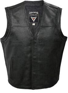 SKINTAN Leather Motorcycle Waistcoat Mens Motorbike Biker Vest Black SOA - BOBBY