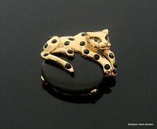 Vintage, schwarze Lucite Cabochon & Strass Stein Tiger, Panther Brosche, Brooch