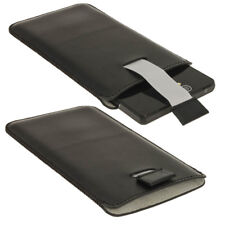 BLACK Leather Pull Tab Pouch per Sony Xperia Z Android Phone Cover Titolare