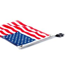 "Boat Yacht marine flag pole with US flag 12""x18"" Stainless Steel Rail Mount-AM"