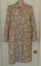 Boden US 10/UK 14 Linen Gray/Pink Rose Pattern Spring Coat