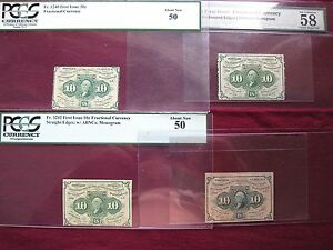 Complete 10¢ 1st Series Set of 4 Fractional Currency PMG&PCGS Graded AU58,AU50
